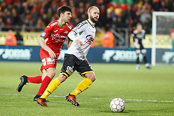January 28, 2018 - Oostende, BELGIUM - Lokeren's Robin Soder and Oostende's Aleksandar Bjelica fight for the ball during the Jupiler Pro League match between KV Oostende and Sporting Lokeren, in Oostende, Sunday 28 January 2018, on the day 24 of the Jupiler Pro League, the Belgian soccer championship season 2017-2018. BELGA PHOTO KURT DESPLENTER (Credit Image: © Kurt Desplenter/Belga via ZUMA Press)