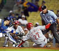 May 12, 2007: #27 Jeff Keppinger slides into home base to score the final run of the night  as the Los Angeles Dodgers defeated the Cincinnati Reds 7-3 at Dodger Stadium in Los Angeles, CA.