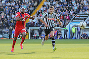 York City forward Emile Sinclair and Notts County defender Haydn Hollis during the Sky Bet League 2 match between Notts County and York City at Meadow Lane, Nottingham, England on 26 September 2015. Photo by Simon Davies.