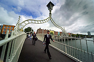 Dublin, Ireland, July 2006. Ha' Penny bridge. The city of Dublin is an attactive combination of colorful pubs with life music and good food, mixed with modern architecture and traditional buildings. Photo by Frits Meyst/Adventure4ever.com