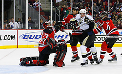 Dec 10, 2008; Newark, NJ, USA; Pittsburgh Penguins center Sidney Crosby (87) looks for the rebound after a save by New Jersey Devils goalie Scott Clemmensen (35) during the first period at the Prudential Center.