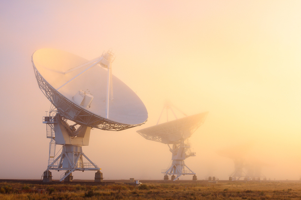 The Very Large Array (VLA) in fog. Part of the National Radio Astronomy Observatory located high on the Plains of San Augustin in New Mexico.