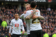 Celebrations as Derby forward Johnny Russell scores his second goal during the Sky Bet Championship match between Derby County and Bolton Wanderers at the iPro Stadium, Derby, England on 9 April 2016. Photo by Aaron  Lupton.