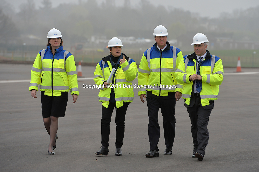 David Cameron visits the new site of a runway at Birmingham airport.<br /> Day 2 of Prime Minister David Cameron's regional tour. <br /> Thursday, 3rd April 2014. Picture by Ben Stevens / i-Images