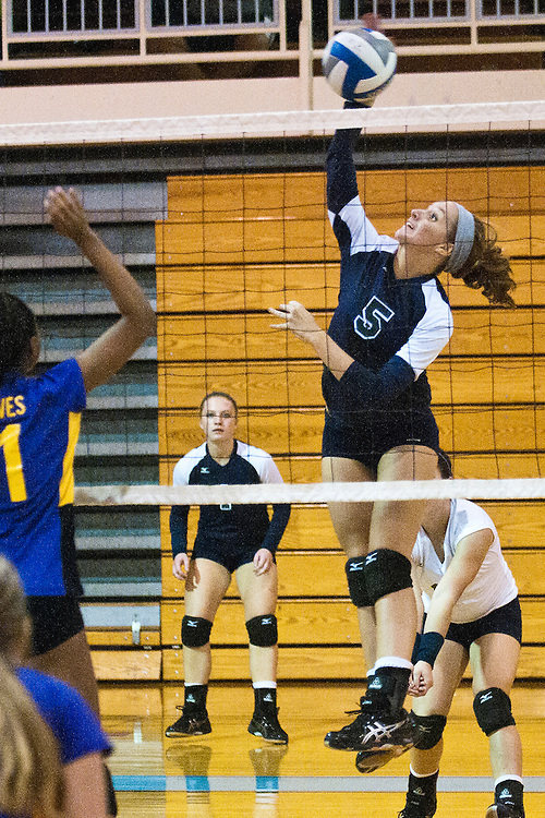Lathan Goumas | The Bay City Times..Brooke Lehner of Heritage High School hits the ball during a quad volleyball match at Garber High School in Essexville, MI., on Thursday September 29, 2011.