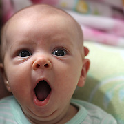 A two month old baby girl makes eye contact with the camera while yawning. Photo Tim Clayton