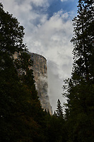 El Capitan  in Yosemite Valley on a stormy autumn day with low clouds. Image taken with a Nikon D3 camera and 24-70 mm f/2.8  lens (ISO 200, 48 mm, f/16, 1/500 sec).