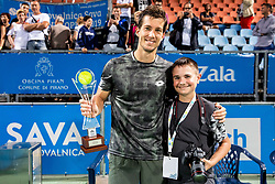 Winner Aljaz Bedene of Slovenia and Nik Moder after the Final match at Day 10 of ATP Challenger Zavarovalnica Sava Slovenia Open 2019, on August 18, 2019 in Sports centre, Portoroz/Portorose, Slovenia. Photo by Vid Ponikvar / Sportida
