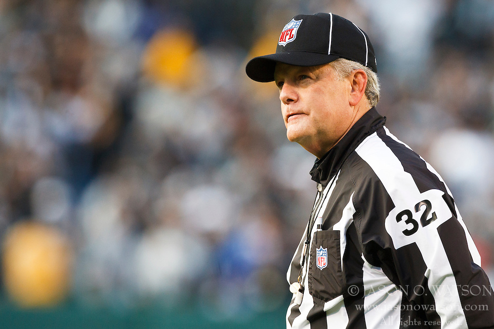 November 7, 2010; Oakland, CA, USA;  NFL line judge Jeff Bergman (32) during the fourth quarter of the game between the Oakland Raiders and the Kansas City Chiefs at Oakland-Alameda County Coliseum. Oakland defeated Kansas City 23-20 in overtime.