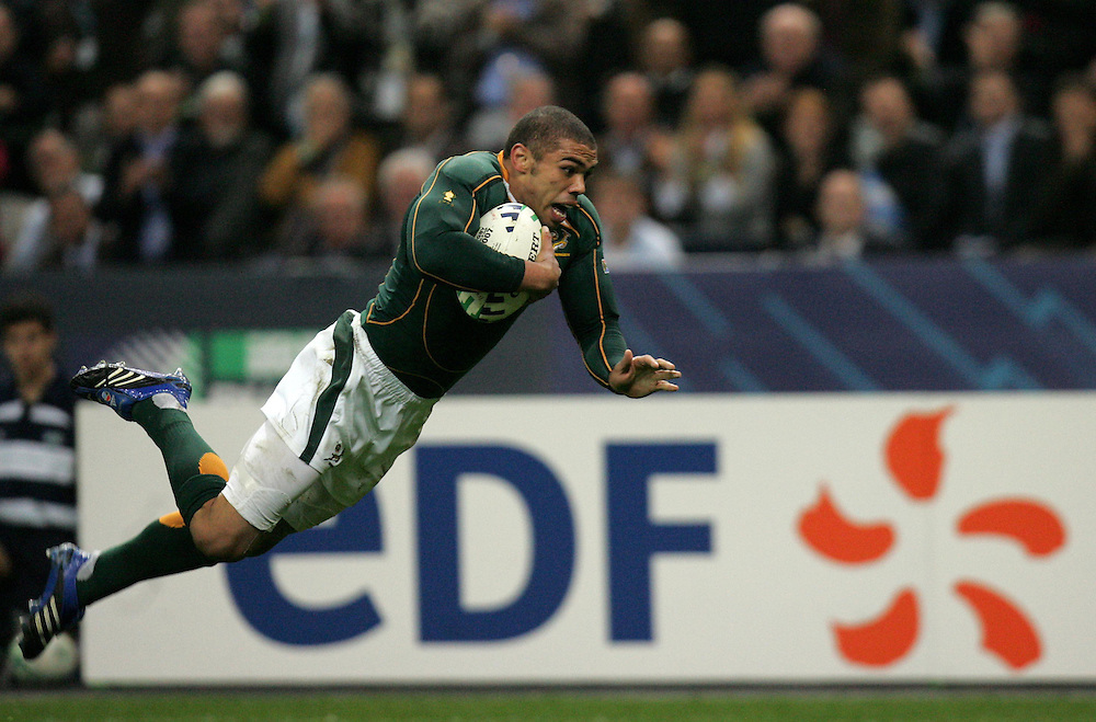 Brian Habana scores the first try. Argentina v South Africa, Semi Final, Rugby World Cup 2007, Stade De France, St Denis, 14th October 2007.