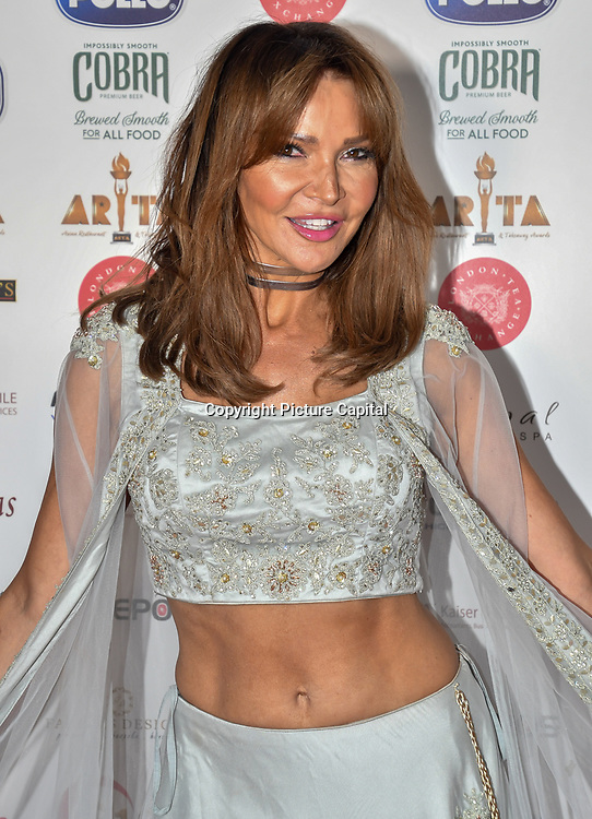 Lizzie Cundy dress in a saree attend Asian Restaurant & Takeaway Awards   ARTA 2018 at InterContinental London - The O2, London, UK. 30 September 2018.