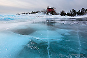 Marquette Lighthouse and blue ice
