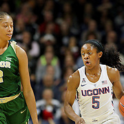 STORRS, CONNECTICUT- NOVEMBER 17: Crystal Dangerfield #5 of the UConn Huskies is defended by Alexis Prince #12 of the Baylor Bears during the UConn Huskies Vs Baylor Bears NCAA Women's Basketball game at Gampel Pavilion, on November 17th, 2016 in Storrs, Connecticut. (Photo by Tim Clayton/Corbis via Getty Images)
