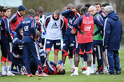 Jimmy Briand France injuries his knee during training with the national side. France Training , Clairefontaine 25.03.09. ** UK Only **