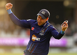 Gloucestershire's Geraint Jones celebrates the winning wicket - Mandatory byline: Robbie Stephenson/JMP - 07966 386802 - 19/09/2015 - Cricket - Lord's Cricket Ground - London, England - Gloucestershire CCC v Surrey CCC - Royal London One-Day Cup Final