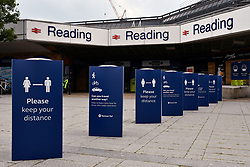 Reading Station signage during Coronavirus pandemic, UK June 2020