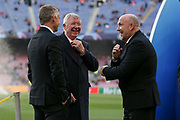 Manchester United Assistant Manager Mike Phelan shares a laugh with Sir Alex Ferguson and Manchester United Manager Ole Gunnar Solskjaer during the Champions League quarter-final leg 2 of 2 match between Barcelona and Manchester United at Camp Nou, Barcelona, Spain on 16 April 2019.