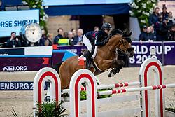 JOBS Eve (USA), Limbridge<br /> Göteborg - Gothenburg Horse Show 2019 <br /> Longines FEI Jumping World Cup™ Final<br /> Training Session<br /> Warm Up Springen / Showjumping<br /> Longines FEI Jumping World Cup™ Final and FEI Dressage World Cup™ Final<br /> 03. April 2019<br /> © www.sportfotos-lafrentz.de/Stefan Lafrentz