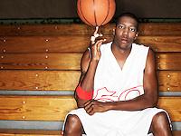 Basketball player ball spinning ball on finger portrait