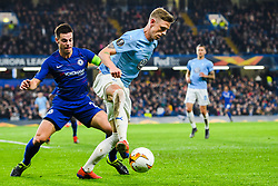 February 21, 2019 - London, Great Britain - 190221 SÅ¡ren Rieks of MalmÅ¡ FF and Cesar Azpilicueta of Chelsea during the Europa league match between Chelsea and MalmÅ¡ FF on February 21, 2019 in London..Photo: Petter Arvidson / BILDBYRN / kod PA / 92228 (Credit Image: © Petter Arvidson/Bildbyran via ZUMA Press)