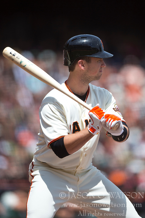 SAN FRANCISCO, CA - APRIL 26:  Buster Posey #28 of the San Francisco Giants at bat against the Cleveland Indians during the first inning at AT&T Park on April 26, 2014 in San Francisco, California. The San Francisco Giants defeated the Cleveland Indians 5-3.  (Photo by Jason O. Watson/Getty Images) *** Local Caption *** Buster Posey