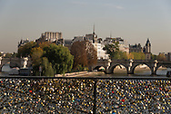 France. Paris.1st district. Love locks on the pont des Arts on the Seine river / la passerelle des arts sur la Seine