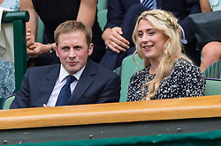 © Licensed to London News Pictures. 08/07/2017. London, UK. JASON KENNY and LAURA KENNY watch center court tennis in the Royal Box on the sixth of the Wimbledon Lawn Tennis Championships. Photo credit: Ray Tang/LNP