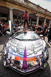 © Licensed to London News Pictures. 04/08/2018. LONDON, UK. A Lamborghini Aventador parked up in Covent Garden for Gumball 3000, a charity race for supercars and more.  150 cars will journey from London to Tokyo in a race which commences on Sunday 5 August.  Photo credit: Stephen Chung/LNP
