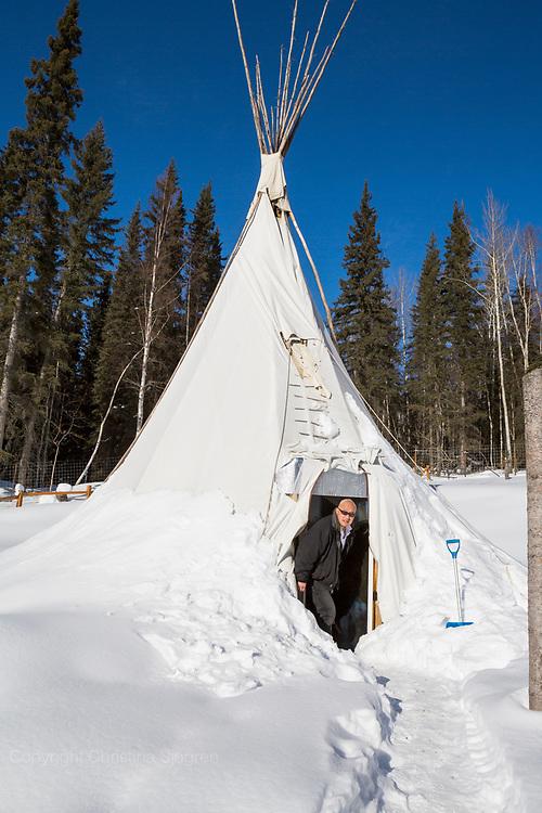 Permafrost scientist Kenji Yoshikawa and his tipi outside Fairbanks. Alaska, USA