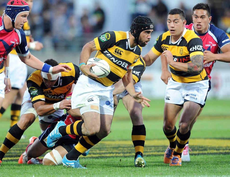Taranaki's Charlie Ngatai against the Tasman Makos in the ITM Cup Rugby Premiership final match at Yarrow Stadium, New Plymouth, New Zealand, Saturday, October 25, 2014. Credit:SNPA / Ross Setford