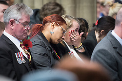 © Licensed to London News Pictures . 10/11/2013 . Bury , UK .  Family of Drummer (Private) Lee Rigby of the Royal Regiment of Fusiliers inside the church during the service . Remembrance Sunday service at Bury Parish Church , Greater Manchester today (Sunday 10th November 2013) . Photo credit : Joel Goodman/LNP