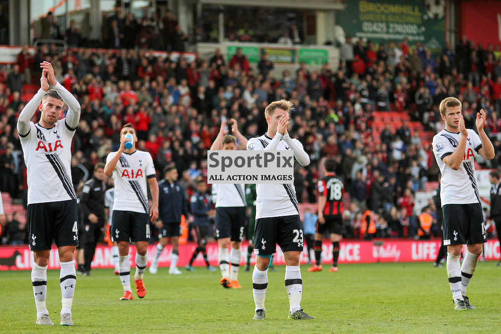 The Tottenham team applaud the travelling fans During Bournemouth vs Tottenham Hotspur on Sunday 25th of October 2015.