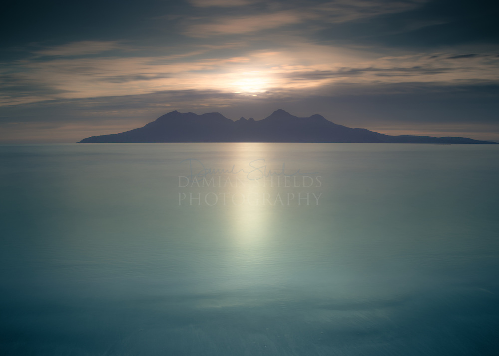 Isle of Rum from Laig bay, Isle of Eigg.<br />