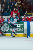 KELOWNA, CANADA - APRIL 8: Reid Gardiner #23 of the Kelowna Rockets skates past the bench of the Portland Winterhawks on April 8, 2017 at Prospera Place in Kelowna, British Columbia, Canada.  (Photo by Marissa Baecker/Shoot the Breeze)  *** Local Caption ***