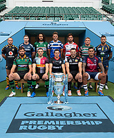 Football - 2019 / 2020 Gallagher Premiership Rugby - New Season Launch Media Photocall<br /> <br /> (Back row l to r) Wasps' Dan Robson, Sale Sharks' Chris Ashton, London Irish' Blair Cowan, Bath Rugby's Rhys Priestland, Gloucester Rugby's Danny Cipriani, Leicester Tigers' Tom Youngs, Worcester Warriors' Francois Hougaard,  (Front row) Northampton Saints' Tom Wood, Harlequins' Mike Brown, Saracens' Alex Goode, Exeter Chiefs' Don Armand, Bristol Rugby's Nathan Hughes, at Twickenham.<br /> <br /> COLORSPORT/ASHLEY WESTERN