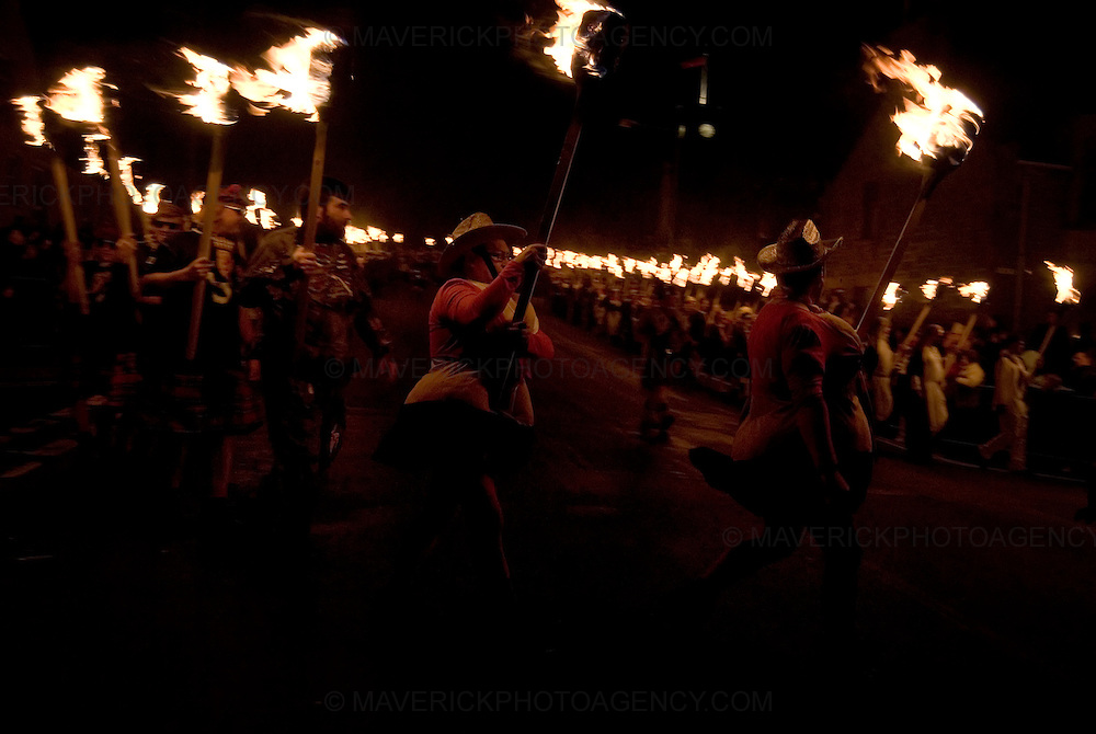 The annual Up Helly Aa Festival, Lerwick, Shetland Islands, 27th January 2009. Up Helly Aa celebrates the influence of the Scandinavian vikings in the Shetland Islands and has employed this theme in the festival for over 100 years. The event culminates with up to 1000 'guizers' (men in costume) throwing flaming torches into a Viking longship.