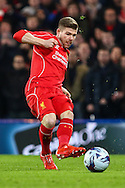Alberto Moreno of Liverpool during the Capital One Cup Semi Final 2nd Leg match between Chelsea and Liverpool at Stamford Bridge, London, England on 27 January 2015. Photo by David Horn.