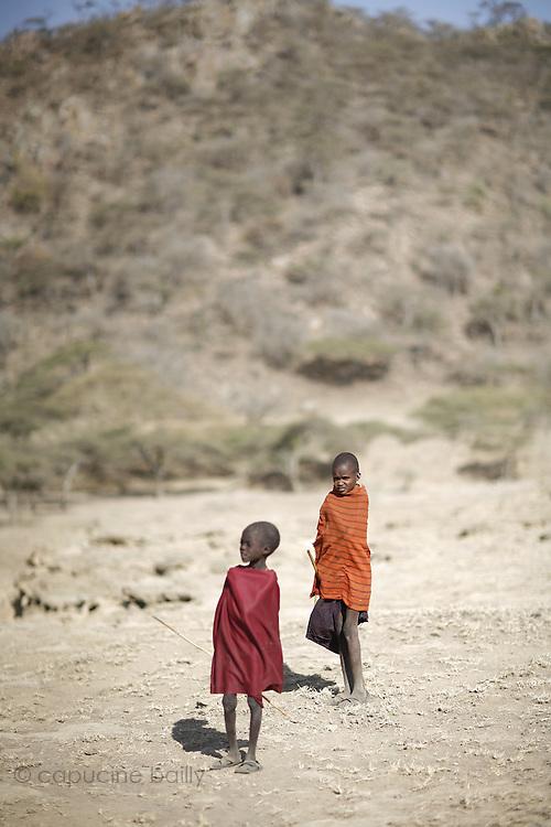 TANZANIA. Gols Mountains. August 10th 2009..Maasai Kids