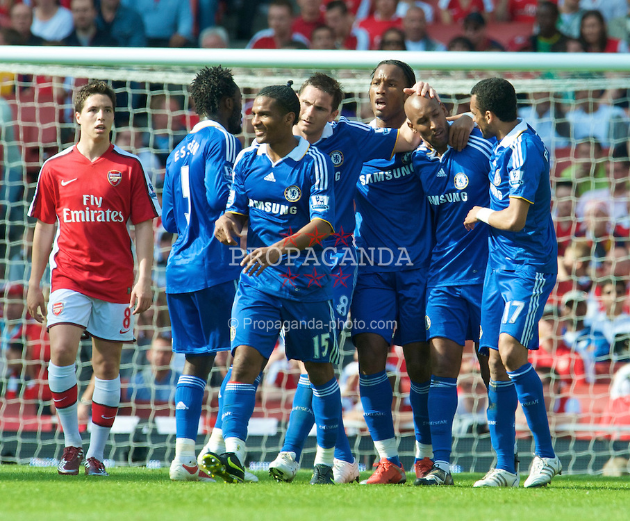 LONDON, ENGLAND - Sunday, May 10, 2009: Chelsea's Nicolas Anelka celebrates scoring the second goal against Arsenal with team-mates during the Premiership match at the Emirates Stadium. (Photo by David Rawcliffe/Propaganda)