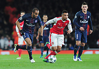 Football - 2016 / 2017 UEFA Champions League - Group A: Arsenal vs. Paris Saint-Germain<br /> <br /> Lucas of PSG and Francis Coquelin of Arsenal at The Emirates.<br /> <br /> COLORSPORT/ANDREW COWIE