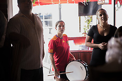 July 1, 2018 - Miami Beach, FL, USA - Elisabet Ferri, 31, and Nelly Torres, 30, watch a soccer match at Tapas and Tintos, a restaurant in Miami Beach, Fla. where fans gathered to watch Spain take on Russia during the 2018 FIFA World Cup Round of 16 knockout stage on Sunday, July 1, 2018. After the score being tied 1-1 at the end of extra time, Russia won, 4 penalty kicks to 3. (Credit Image: © Ellis Rua/TNS via ZUMA Wire)