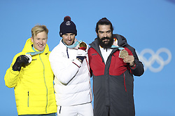 PYEONGCHANG, Feb. 15, 2018  Gold medalist France's Pierre Vaultier (C), silver medalist Australia's Jarryd Hughes (L) and bronze medalist Spain's Regino Hernandez celebrate during the medal ceremony of men's snowboard cross final at the 2018 PyeongChang Winter Olympic Games at Medal Plaza, PyeongChang, South Korea, on Feb. 15, 2018. (Credit Image: © Wu Zhuang/Xinhua via ZUMA Wire)