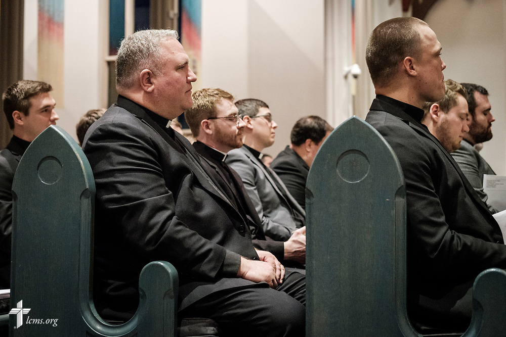 Pastoral candidates listen at the Service of Praise with Assignment of Calls in the Chapel of St. Timothy and St. Titus at Concordia Seminary, St. Louis, on Tuesday, April 24, 2018. LCMS Communications/Erik M. Lunsford