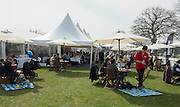 Henley. United Kingdom. General views  hospitality area, Temple enclosure, Oxford Women's Blue Boat celebrate with Champagne after winning the 2014 Henley Boat Race, Henley Reach, Annual Women's Boat Race.  River Thames; Sunday  - 30/03/2014  [Mandatory Credit; Intersport Images],