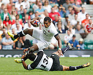 Saemesa Rokoduguni of England (top) is tackled by Rene Ranger of the Barbarians  during the International Test Match match at Twickenham Stadium, Twickenham<br /> Picture by Andrew Tobin/Focus Images Ltd +44 7710 761829<br /> 01/06/2014