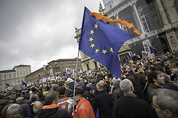 November 10, 2018 - Turin, ITALY, Italy - People protest in Turin, Italy, on November 10, 2018 against the Five Stars Movement (Movimento 5 Stelle). More than 20,000 people was gathered in downtown Torino to protest against the politics of the government of ''Cinque Stelle'' (five stars) accused of decline of the city once rich and capital of the technology...Many members of the industry, pensioners, traders have participated, showing a clear disagreement with the mayor politics starting from  the construction of high-speed rail to the closure to  the traffic of part of  the city center. (Credit Image: © Mauro Ujetto/NurPhoto via ZUMA Press)