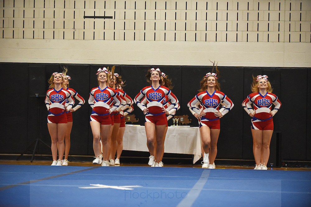 The Burlington H.S. cheerleading team competes in the MSSAA North regional championship, Sunday, Nov. 15, 2015. Wicked Local staff photo / Kate Flock