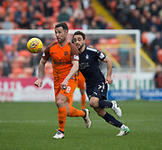 14th April 2018, Tannadice Park, Dundee, Scotland; Scottish Championship football, Dundee United versus Falkirk; Scott McDonald of Dundee United and Tom Taiwo of Falkirk