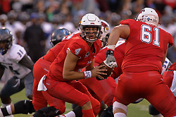 NORMAL, IL - September 08: Brady Davis drops from the line looking for his running back during 107th Mid-America Classic college football game between the ISU (Illinois State University) Redbirds and the Eastern Illinois Panthers on September 08 2018 at Hancock Stadium in Normal, IL. (Photo by Alan Look)