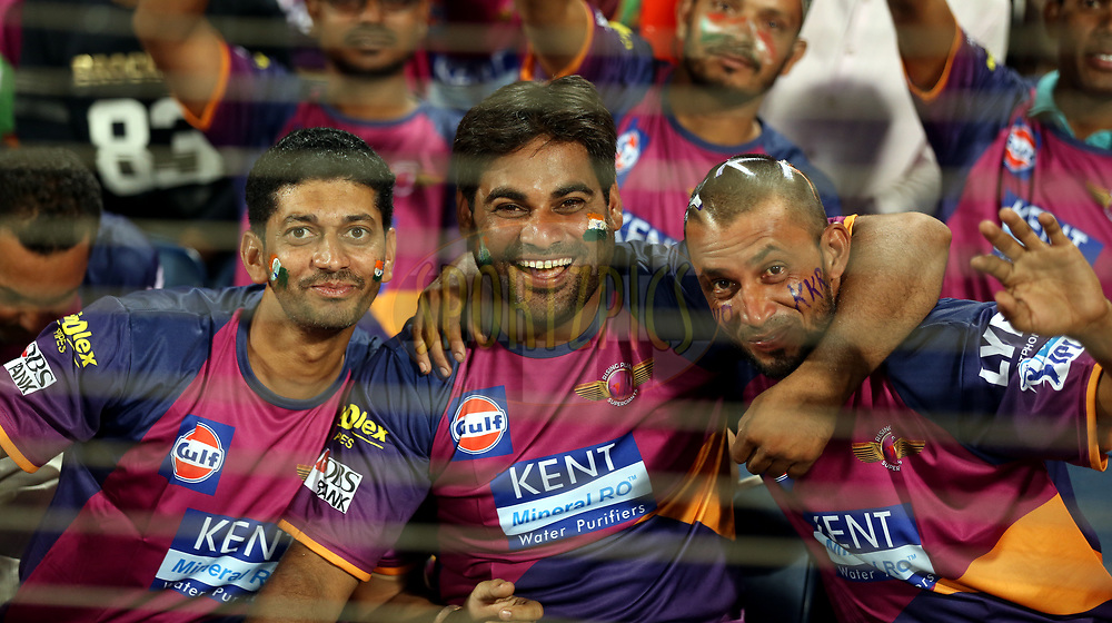Fans enjoy during match 30 of the Vivo 2017 Indian Premier League between the Rising Pune Supergiants and the Kolkata Knight Riders  held at the MCA Pune International Cricket Stadium in Pune, India on the 26th April 2017<br /> <br /> Photo by Sandeep Shetty - Sportzpics - IPL